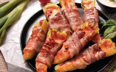 Grill ételek baconbe tekerve